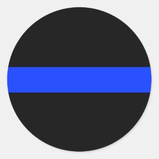 Línea fina azul de la policía pegatina redonda