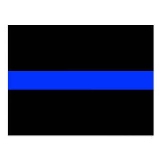 Línea fina azul de la policía tarjeta postal