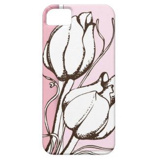 Línea floral caso del bosquejo de los rosas iPhone 5 funda