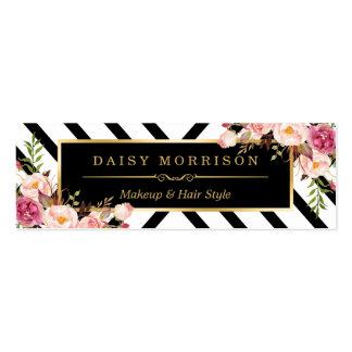 Línea floral modelo del extracto del oro del salón tarjetas de visita mini