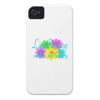 Línea flores de la felicidad del baile iPhone 4 fundas