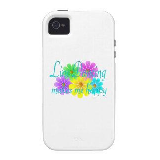 Línea flores de la felicidad del baile Case-Mate iPhone 4 fundas