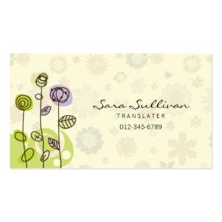 Línea flores del Doodle de la tarjeta de visita de