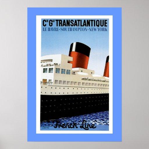 Línea francesa en medio del barco poster