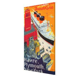 Línea francesa poster del viaje, Havre a Plymouth, Impresión En Lona Estirada