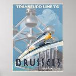 Línea futurista del Transporte-Euro Póster