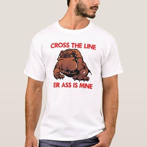 Línea gorda blanca de la cruz del dogo playera