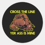 Línea gorda negra de la cruz del dogo etiqueta