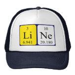 Línea gorra del nombre de la tabla periódica