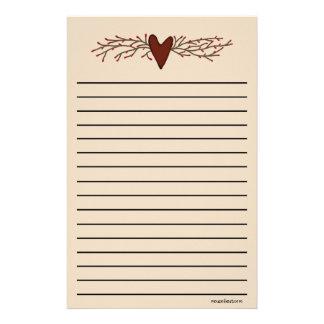 Línea gruesa efectos de escritorio del corazón del papelería