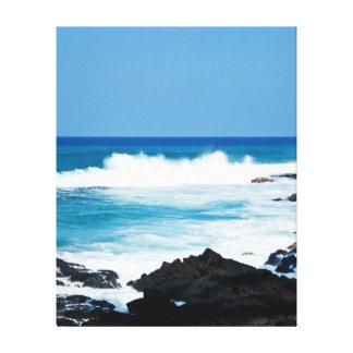 Línea hawaiana ondas de la costa del océano de la  impresión en lienzo estirada