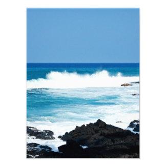 Línea hawaiana ondas de la costa del océano de la  arte fotográfico
