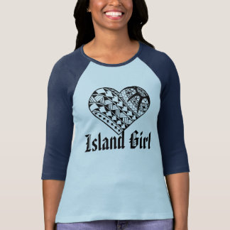 LineA Island Girl Black Polynesian Heart Tattoo T-Shirt