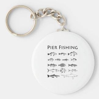 Línea logotipo de la especie de los pescados de la llaveros