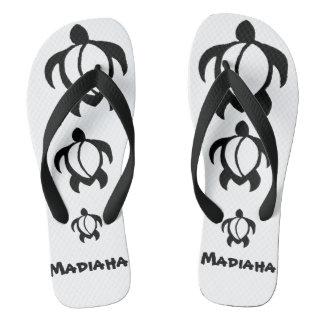 "LineA ""Madiaha"" Black Honu Flip Flops"