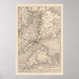 Línea mapa (1888) de la colonia de Cape Cod del Póster