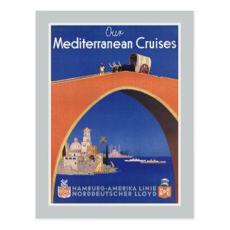 Línea mediterránea viaje de la nave de travesías postal