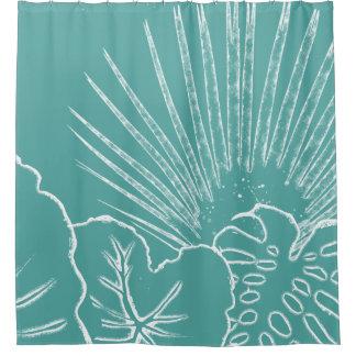 Línea moderna arte de la playa de la hoja tropical cortina de baño