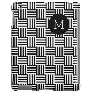 Línea moderna blanca negra monograma del zigzag funda para iPad