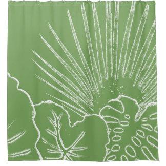Línea moderna de moda playa tropical de la hoja de cortina de baño