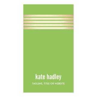 Línea moderna elegante verde del modelo rayado del tarjetas de visita
