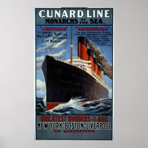 Línea monarcas de Cunard del mar Impresiones