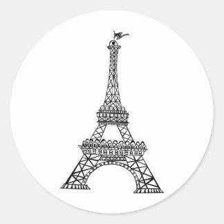 Línea negra torre Eiffel Pegatina Redonda