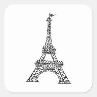 Línea negra torre Eiffel Pegatina Cuadrada