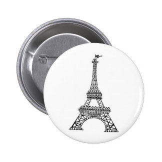 Línea negra torre Eiffel Pin Redondo De 2 Pulgadas