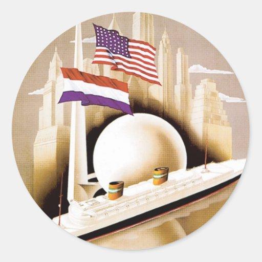 Línea Nueva York de Holanda América Pegatina Redonda