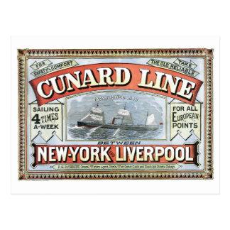 Línea Nueva York Liverpool 1875 de Cunard Tarjeta Postal