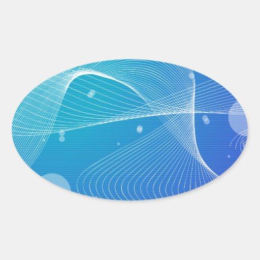 Línea ondulada azul abstracta colcomanias ovaladas