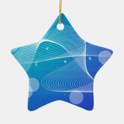 Línea ondulada azul abstracta ornamento de navidad