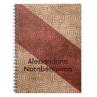 Línea ondulada beige diagonales de Borgoña adaptab Cuaderno