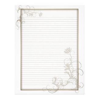 Línea opcional marco blanco floral de cobre amaril membrete personalizado