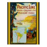 Línea pacífica viaje del vintage postal