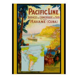 Línea pacífica viaje del vintage tarjetas postales