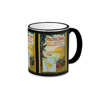 Línea pacífica viaje del vintage tazas de café