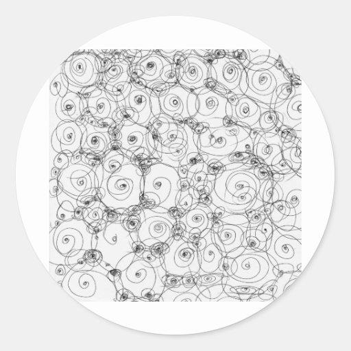 Línea papel Fineart del drenaje del diseño del Pegatina Redonda