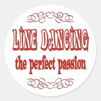 Línea pasión del baile pegatinas redondas