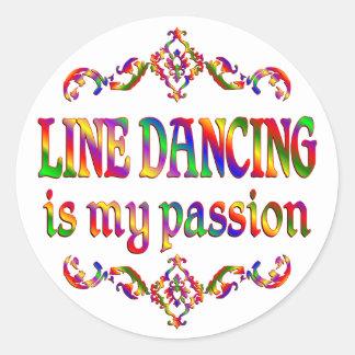 Línea pasión del baile etiqueta redonda
