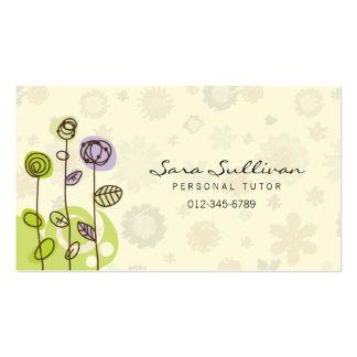 Línea personal flores del Doodle de la tarjeta de  Plantilla De Tarjeta Personal