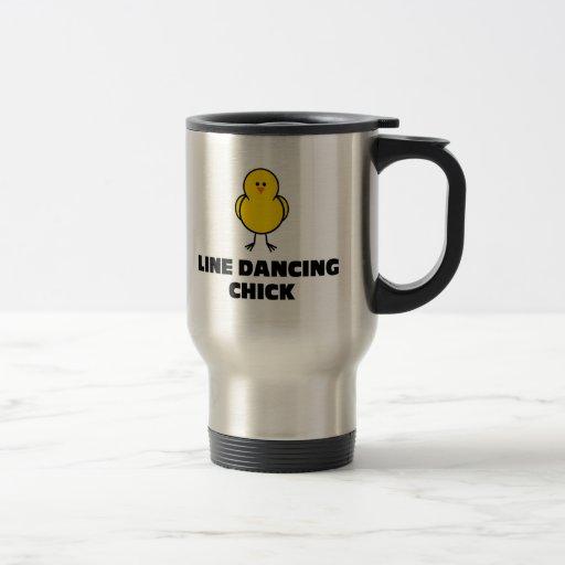 Línea polluelo del baile taza de café
