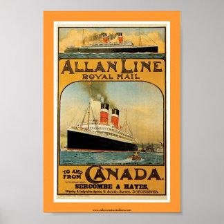 Línea poster de Allan del buque de vapor