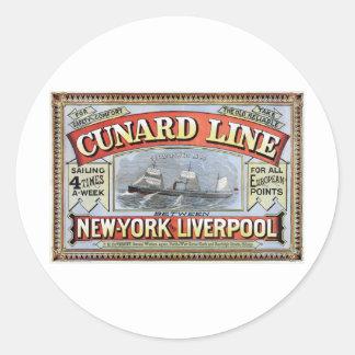 Línea poster de Cunard de Nueva York Liverpool Pegatina Redonda