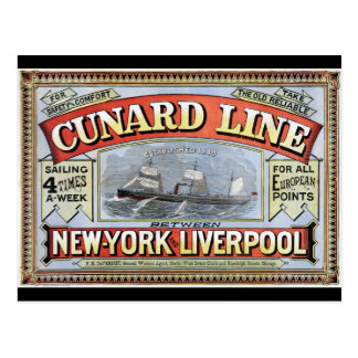 Línea poster de Cunard de Nueva York Liverpool Tarjetas Postales