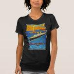 Línea poster de Holanda América del viaje del vint Camisetas