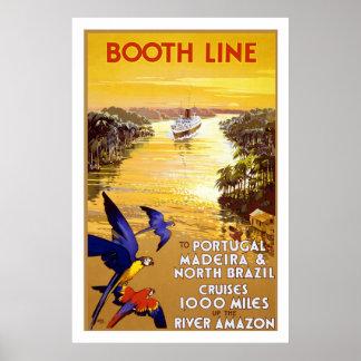 """""""Línea"""" poster de la cabina del viaje del vintage"""