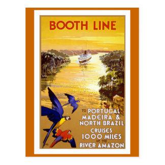 """""""Línea"""" poster de la cabina del viaje del vintage Tarjetas Postales"""