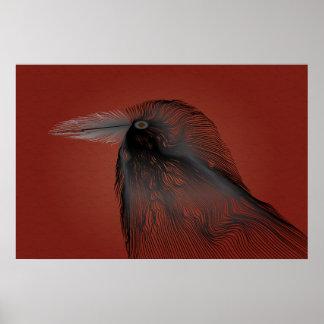 Línea poster del cuervo del contorno